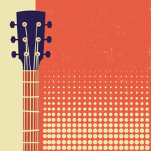 Retro Music Poster Background With Acoustic Guitar On Old Paper