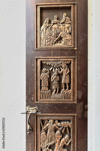 Photo  Carved wooden doors-Saint Joseph the Worker Cathedral