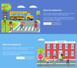 Rules for Pedestrian Vector Web Banner with Texts