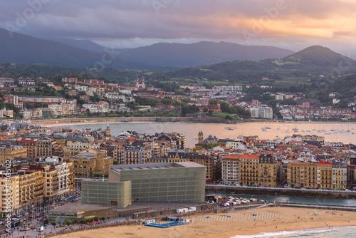 Donostia-San Sebastian at sunset, Basque Country, Spain