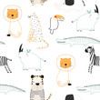 Cute jungle animals seamless pattern. Vector hand drawn illustration.