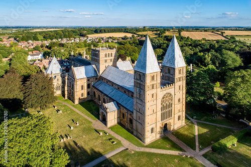 Southwell Mister and Romanesque Cathedral in Nottinghamshire, England, UK. Aerial view