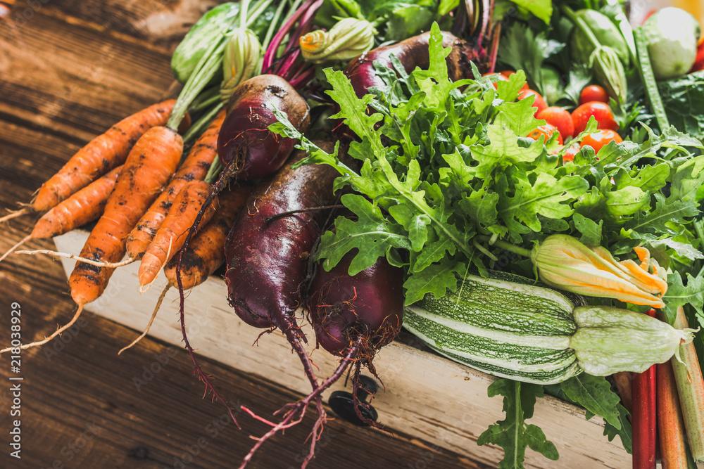 Fototapety, obrazy: Bio organic vegetables on farmer market, farm fresh vegetable box on wooden background, vegetarian food concept