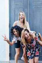 Three Girls Having Fun On The ...