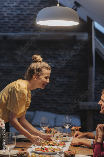 Woman Hosting Dinner Party
