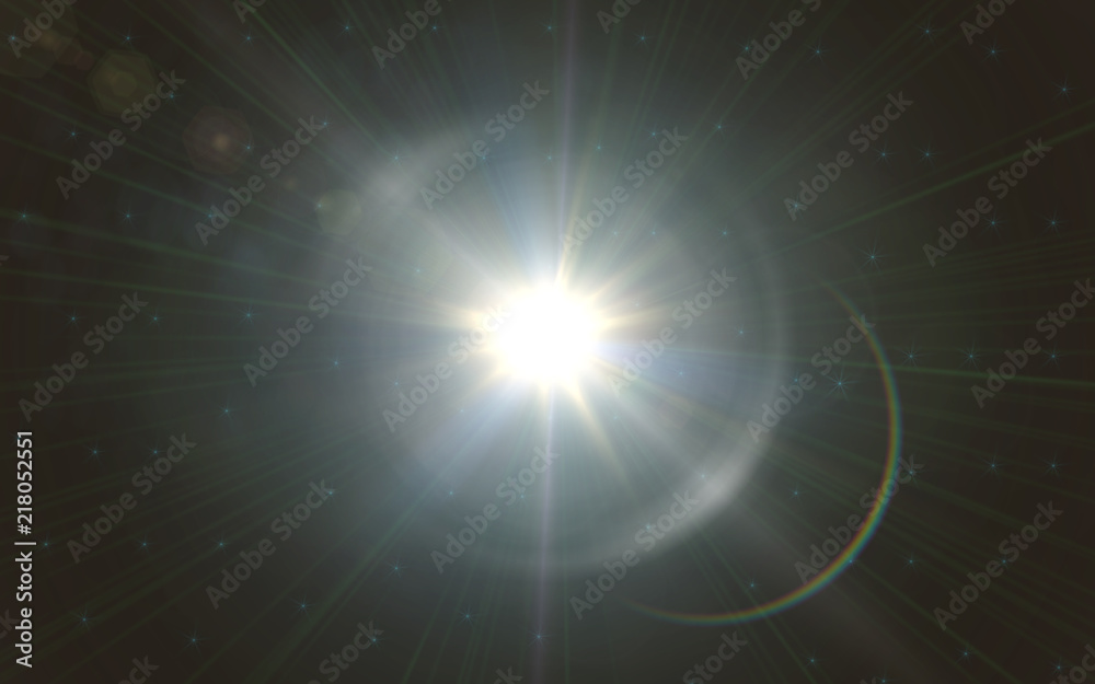 Fototapety, obrazy: Lens flare light over black background. easy to add overlay or screen filter over photo.sunburst with Lens flare light over black background.
