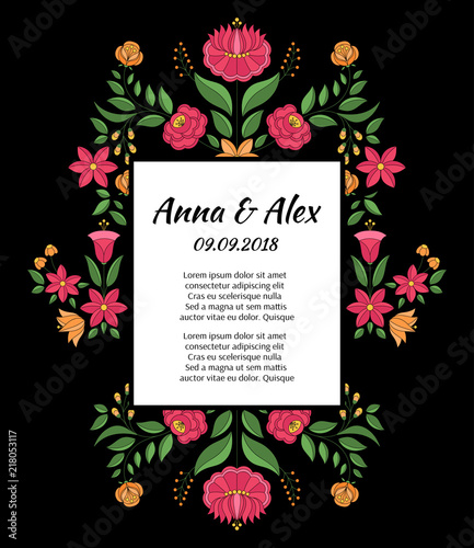 Save The Date Wedding Floral Ornament Wedding Floral: Autumn Wedding Save The Date Card Template Vector