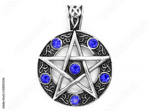 Fotografie, Obraz  Jewelry, pendant. Magic pentagram. Stainless steel.