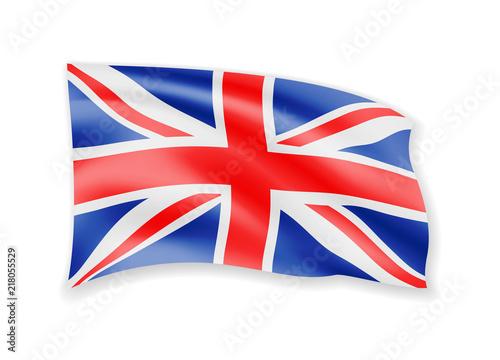 Fotografie, Obraz  Waving United Kingdom flag on white. Flag in the wind.