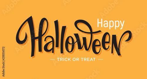 Spoed Fotobehang Halloween Happy Halloween lettering on orange background.