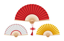 Set Of Three Chinese Fans Isol...