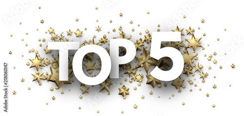 Photographie  Top 5 sign with gold stars. Rating header.