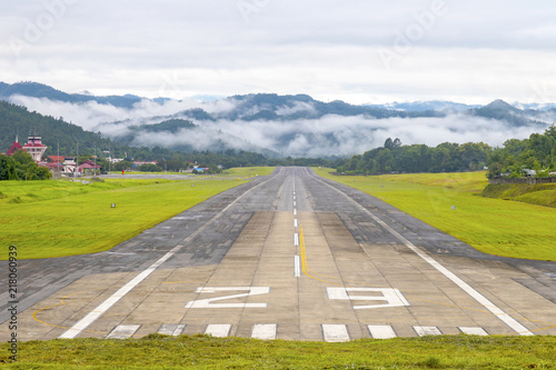Mae Hong Son, Thailand July 18, 2018 : Airport runway in the morning sunrise time.