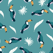 Beach Tropical Seamless Pattern With Toucans