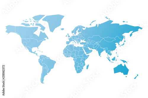 Photo  Simplified map of World in blue. Schematic vector illustration