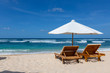 Place for beach holidays with umbrellas at Bali island,Nusa Dua beach area,Indonesia