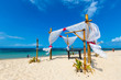 Romantic dinner place at ocean sand beach,Nusa Dua,Bali island,Indonesia