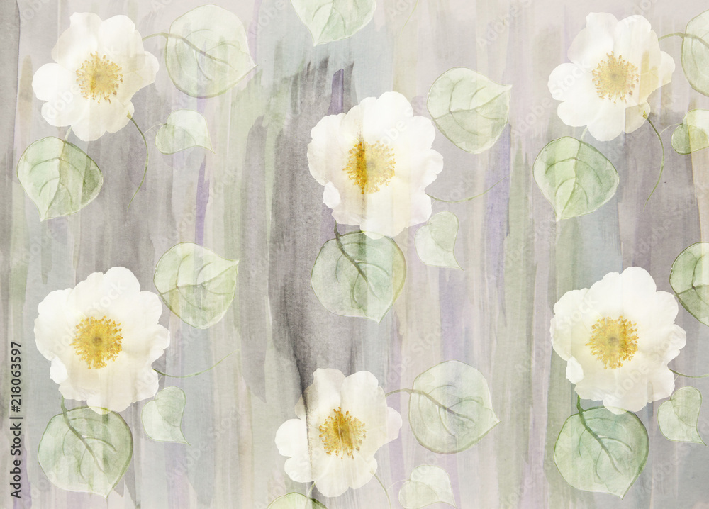 Scenic watercolor floral background with wild roses, hand-painted, showy