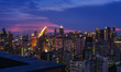 scenic of twilight skyline with cityscape on rooftop view