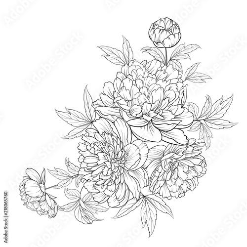 Fotografía Spring flowers bouquet of contour style flower garland