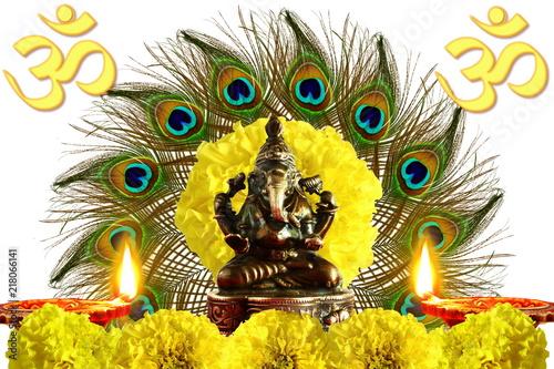 Photo sur Toile Croquis dessinés à la main des animaux indian hindu god ganesha religious concept for ganesh puja diwali new year or pongal greeting