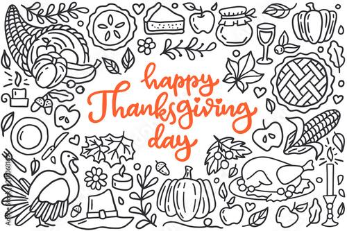 Fotografie, Obraz Happy thanksgiving day poster with greetings lettering and doodle illustration of celebration dinner, turkey, autumn harvest, pumpkin, apple pie, cornucopia