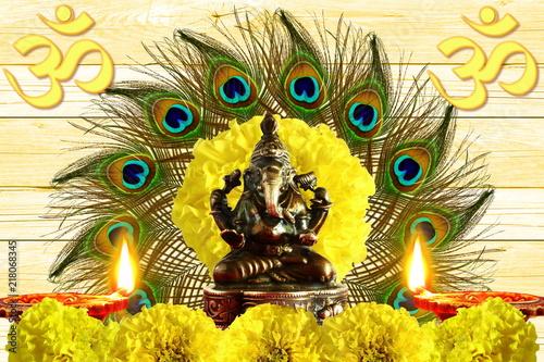 indian hindu god ganesha religious concept for ganesh puja  diwali new year or pongal greeting