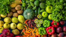 Top View Different Fresh Fruits And Vegetables Organic For Healthy Lifestyle, Many Raw Produce For Eating Healthy And Dieting