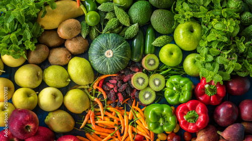 Poster de jardin Cuisine Top view different fresh fruits and vegetables organic for healthy lifestyle, Many raw produce for eating healthy and dieting