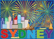 Sydney Australia Skyline Fireworks Vector  Illustration