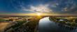 Luftbild Rheinbiegung bei Eich im Abendlicht