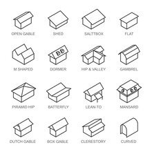 Types Of Roofs Icons Vector Set Isolated From Background