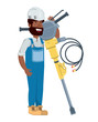 construction man holding a hammer drill over white background, vector illustration