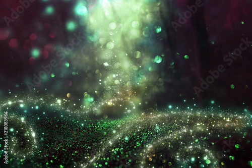 Abstract and magical image of glitter Firefly flying in the night forest Fototapeta