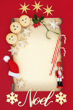 Christmas Blank Letter With Noel Sign, Mince Pies, Winter Holly, Mistletoe And Decorations On Parchment Paper On Red Background. Letter To Santa Or Party Invitation.