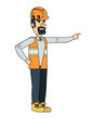 cartoon construction worker with safety vest and helmet over white background, vector illustration