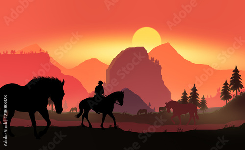 La pose en embrasure Rouge A silhouette of a cowboy and horse at sunset