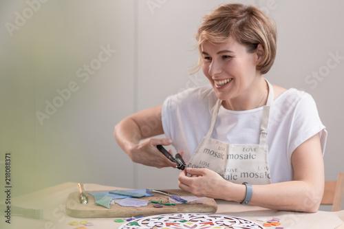 Fotografia, Obraz  Portrait of master working on new modern colorful mosaic