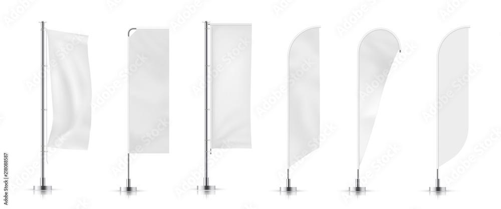 Fototapeta Vector set of different types banner flag