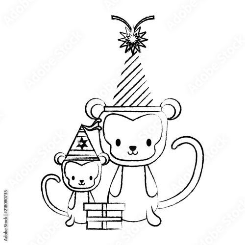 Happy Birthday Design With Cute Monkeys Party Hats Over White Background Vector Illustration