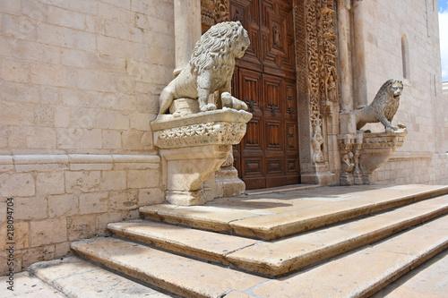 Italy, Puglia region, Altamura,  Cathedral of Santa Maria Assunta, gate and sculptures of the main façade Canvas Print