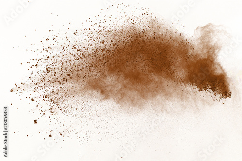 Dry soil explosion isolated on white background. Tableau sur Toile