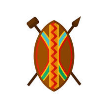 African Shield, Spear And Hammer, Authentic Symbols Of Africa With Ethnic Ornament Vector Illustration On A White Background