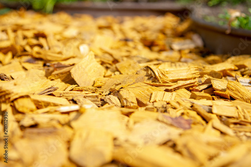 Decorative Bark Mulch Mulching With A Flower Bed
