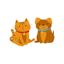 Funny Dog And Cat Sitting Together, Cute Domestic Pet Animals Cartoon Characters, Best Friends Vector Illustration On A White Background