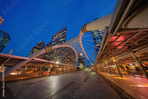 Spoed Foto op Canvas Canada Chong Nonsi Bridge. Architectures in smart city for technology background. Skyscraper buildings in Bangkok City at night, Thailand