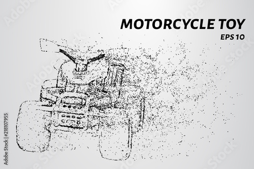 Children's Quad bike made of particles. Children's motorcycle consists of circles and dots.