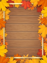 Golden Frame Decorated Of Fall...
