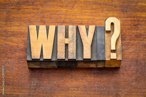 Obraz why question in vintage wood type - fototapety do salonu