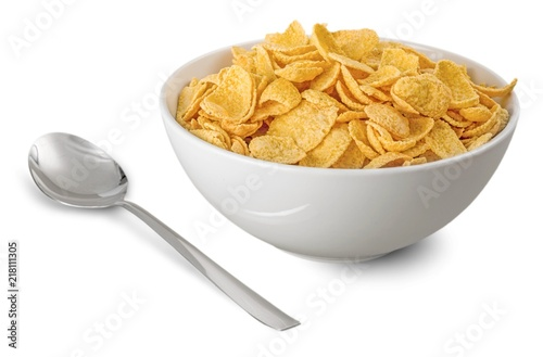 Canvas Print Bowl of Cornflakes